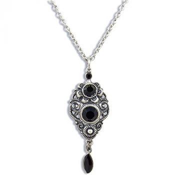Jugendstil Kette Silber Schwarz mit Kristallen von Swarovski® NOBEL SCHMUCK