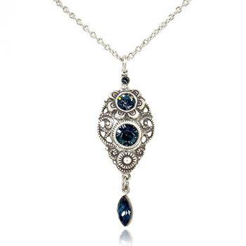 Jugendstil Kette mit Kristallen von Swarovski® Silber Blau NOBEL SCHMUCK