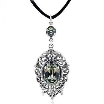 Jugendstil Kette mit Kristallen von Swarovski® Silber Black Diamond NOBEL SCHMUCK
