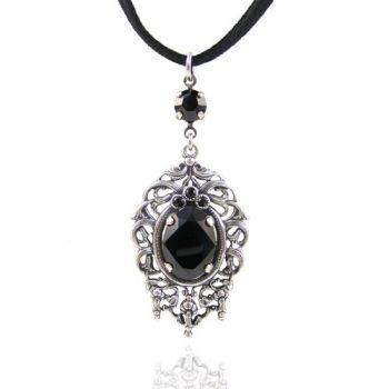 Jugendstil Kette mit Kristalle von Swarovski® Silber Schwarz NOBEL SCHMUCK