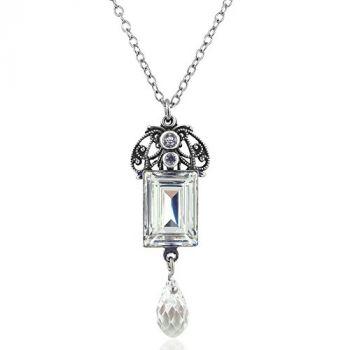 Jugendstil Kette mit Kristalle von Swarovski® Silber Crystal NOBEL SCHMUCK