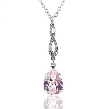 Jugendstil Kette mit Kristallen von Swarovski® Rosa Silber Rosaline NOBEL SCHMUCK