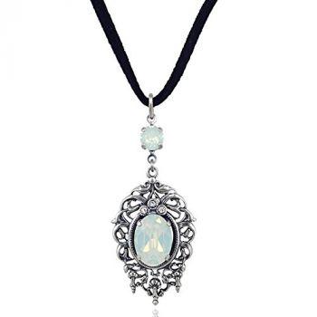 Jugendstil Kette mit Kristallen von Swarovski® Silber White Opal Halskette NOBEL SCHMUCK