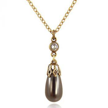Perlenkette mit Kristallen von Swarovski® Schwarz Grau Gold NOBEL SCHMUCK