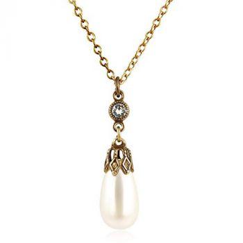 Perlen-Kette mit Kristallen von Swarovski® Gold NOBEL SCHMUCK
