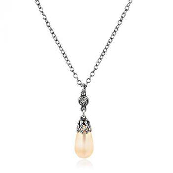 Perlenkette mit Kristalle von Swarovski® Silber Light Peach Pearl NOBEL SCHMUCK