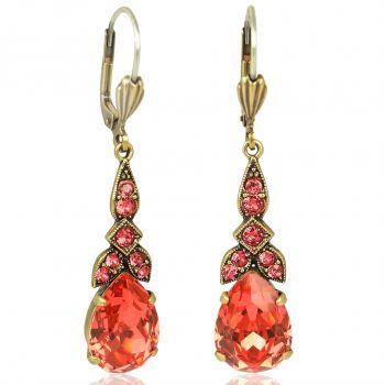 Jugendstil Ohrringe mit Kristallen von Swarovski® Gold Orange-Rot NOBEL SCHMUCK