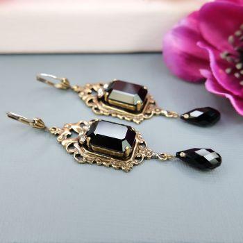 Vintage Ohrringe Gold Jugendstil Schwarz mit Kristallen von Swarovski NOBEL SCHMUCK