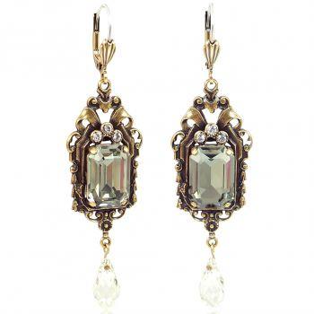 Vintage Ohrringe Gold Black Diamond mit Kristallen von Swarovski NOBEL SCHMUCK