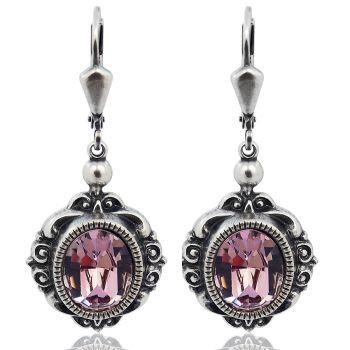 Vintage Ohrringe mit Kristallen von Swarovski® Silber Violett Lila NOBEL SCHMUCK