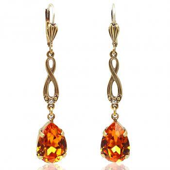 Jugendstil Ohrringe mit Kristallen von Swarovski® Orange Gold NOBEL SCHMUCK