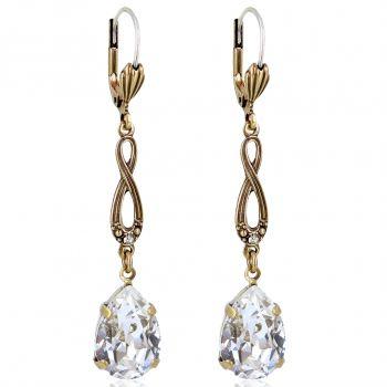 Jugendstil Ohrringe mit Markenkristallen aus Österreich Gold Blau NOBEL SCHMUCK