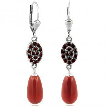 Jugendstil Ohrringe Kristalle von Swarovski® Silber Rot NOBEL SCHMUCK