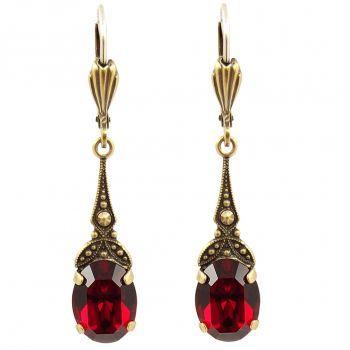 Jugendstil Ohrringe mit Kristallen von Swarovski® Gold Rot NOBEL SCHMUCK