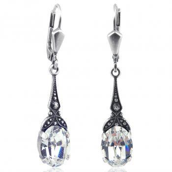 Jugendstil Ohrringe Silber Kristall Silber Vintage Ohrhänger NOBEL SCHMUCK