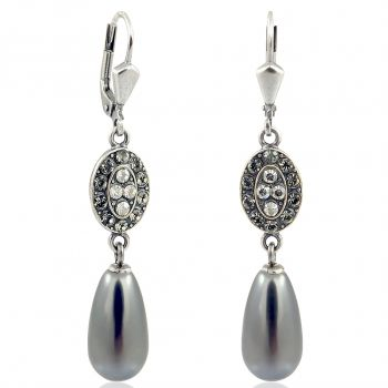 Jugendstil Ohrringe mit Kristallen von Swarovski® Perlen NOBEL SCHMUCK