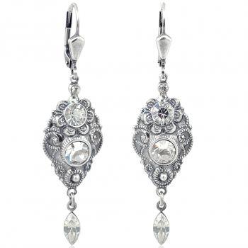 NOBEL SCHMUCK Jugendstil Ohrringe mit Kristallen von Swarovski® Silber