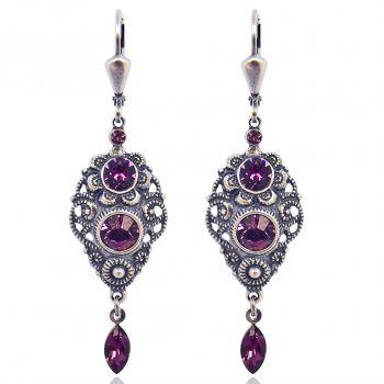 NOBEL SCHMUCK Jugendstil Ohrringe mit Kristallen von Swarovski® Silber Rot Amethyst