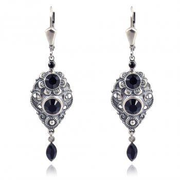 NOBEL SCHMUCK Jugendstil Ohrringe Schwarz mit Kristallen von Swarovski® Silber Jet