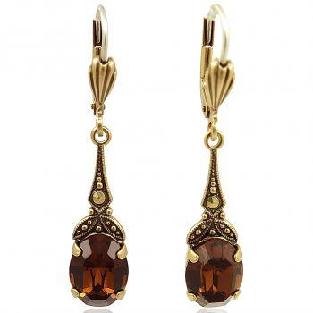 Jugendstil Ohrringe mit Kristallen von Swarovski® Gold Braun NOBEL SCHMUCK