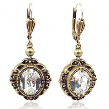 Vintage Ohrringe mit Kristallen von Swarovski® Gold Viele Farben NOBEL SCHMUCK