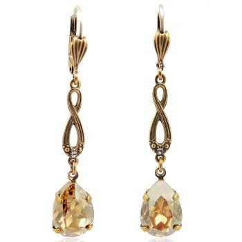 Jugendstil Ohrringe Gold mit Kristallen vergoldet NOBEL SCHMUCK