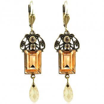 Jugendstil Ohrringe mit Kristallen von Swarovski® Gold Pfirsich NOBEL SCHMUCK