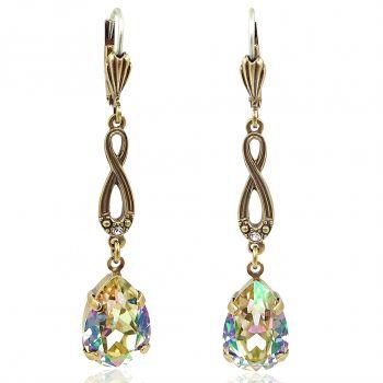 Jugendstil Ohrringe mit Kristallen von Swarovski® Grün Gelb Gold NOBEL SCHMUCK
