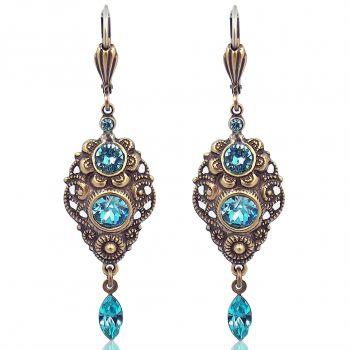 NOBEL SCHMUCK Jugendstil Ohrringe mit Kristallen von Swarovski® Türkis Gold