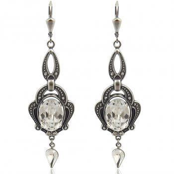 Jugendstil Ohrringe mit Kristalle von Swarovski® Silber Crystal NOBEL SCHMUCK