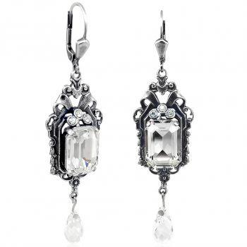 Jugendstil Ohrringe mit Kristallen von Swarovski® Silber Viele Farben NOBEL SCHMUCK