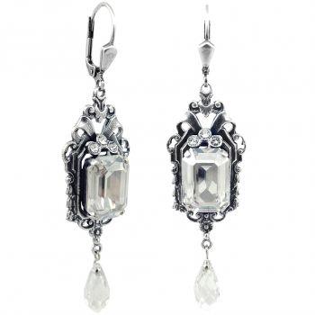 Jugendstil Ohrringe mit Kristallen von Swarovski® Silber Silver Shade NOBEL SCHMUCK