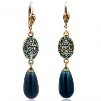Jugendstil Ohrringe mit Kristallen von Swarovski® Gold Viele Farben NOBEL SCHMUCK