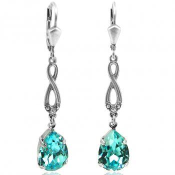 Jugendstil Ohrringe mit Kristallen von Swarovski® Silber Türkis NOBEL SCHMUCK
