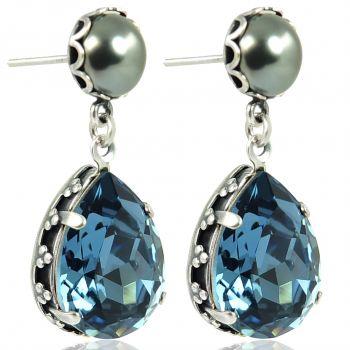 Jugendstil Ohrringe mit Markenkristallen Silber Viele Farben NOBEL SCHMUCK