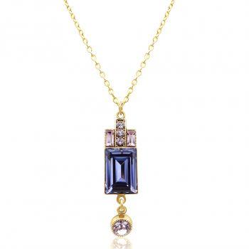 Artdeco Kette Gold Lila mit Kristallen von Swarovski® Tanzanite NOBEL SCHMUCK