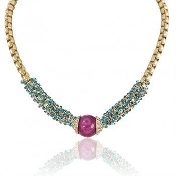 Damen-Kette Pink Jade Gold Grün Rot Strass Damen Halskette von NOBEL SCHMUCK
