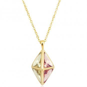 NOBEL SCHMUCK Kette Lang Gold Rosa Grün Braun Kristalle von Swarovski® NOBEL SCHMUCK
