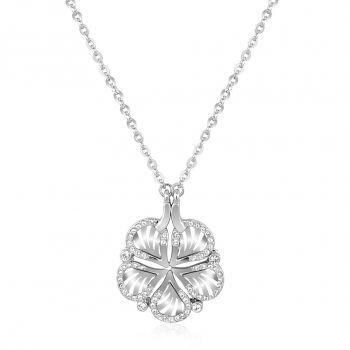 Silber Halskette und Anhänger Damen-Kette Blume mit Kristallen NOBEL SCHMUCK