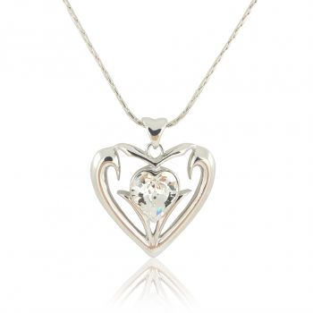 Damen-Kette Herz mit Kristall von Swarovski® Silber Halskette NOBEL SCHMUCK