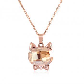 Kette Katze mit Kristall von Swarovski® Rosegold Anhänger Halskette NOBEL SCHMUCK