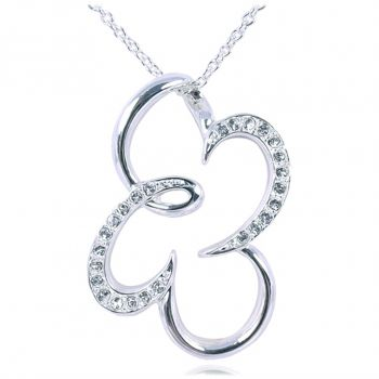 Kette Kleeblatt mit Kristallen von Swarovski® Halskette NOBEL SCHMUCK