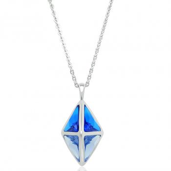 Kette Lang Silber Blau Kristalle von Swarovski® NOBEL SCHMUCK