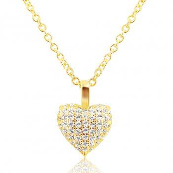 NOBEL SCHMUCK Damen-Kette Silber 925 Gold plattiert Herz Love Zirkon Halskette