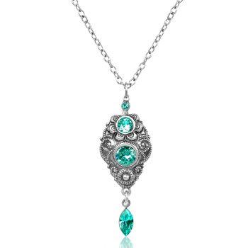 Jugendstil Kette Silber Light Turquoise mit Kristallen von Swarovski® Türkis NOBEL SCHMUCK