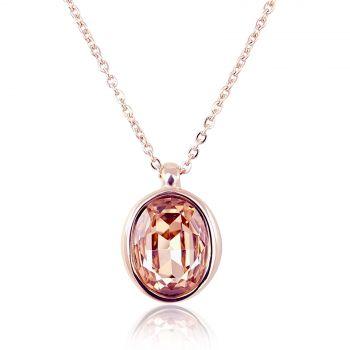 Kette Rosegold mit Kristall von Swarovski® Pfirsich Rosa NOBEL SCHMUCK