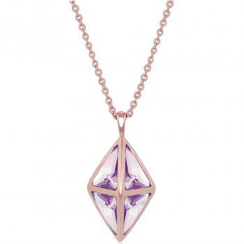 NOBEL SCHMUCK Lange Kette Rosegold Kristalle von Swarovski® Geometrisch Oktaeder