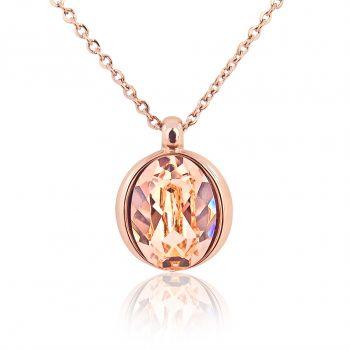 Damen-Kette Rosegold mit Kristallen von Swarovski® Verschiedene Farben NOBEL SCHMUCK
