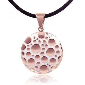 Rosegold Kette Amulett Emaille Weiß Damen Halskette von NOBEL SCHMUCK