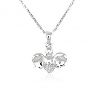 NOBEL SCHMUCK Damen-Halskette mit Anhänger Engel Schutzengel 925 Silber Zirkonia Weihnachtsgeschenk für Frauen und Mädchen